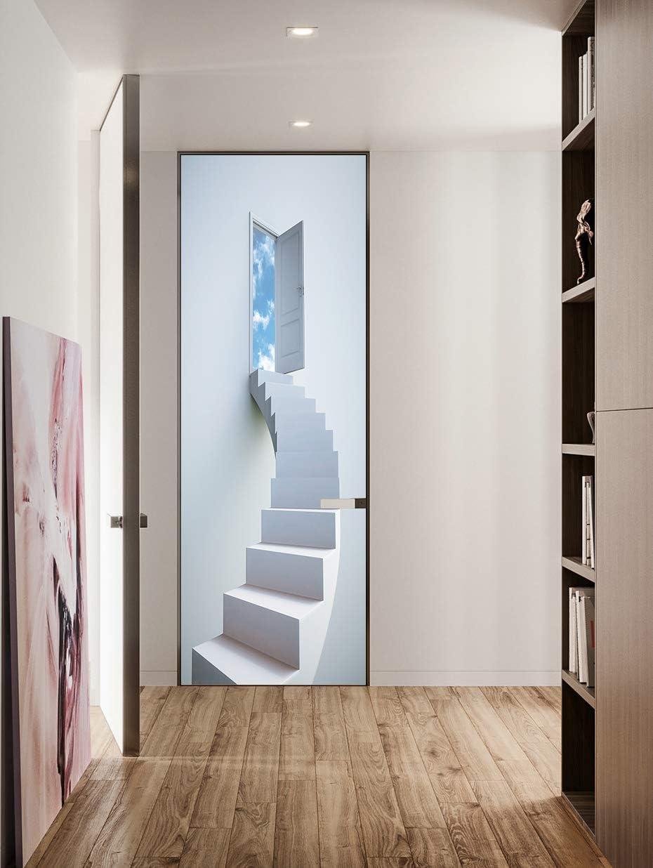 FLFK 3D Escaleras de Caracol Blancas Adhesivo Fotográfico Vinilos Puerta Pegatina Pared Murales para Cocina Sala de Baño Decorativos 77X200cm: Amazon.es: Hogar