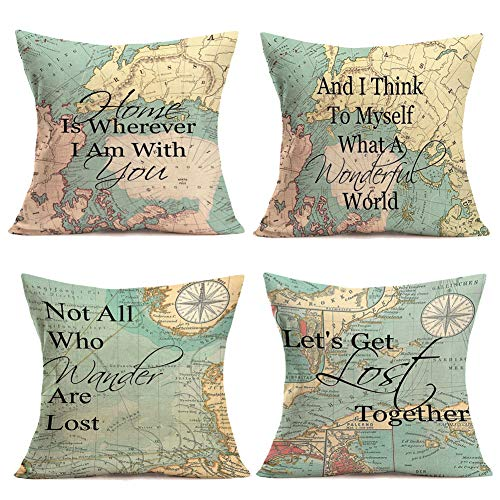 Royalours Pillow Covers RetroMap Compass Geography Background withInspirational Words Cotton Linen Decorative Throw Pillow Case Cushion Coverfor Home Sofa Decor18 X 18 Set of 4 (Map Set)