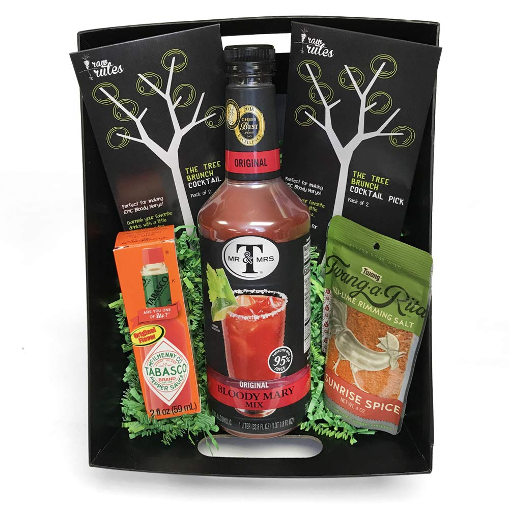 Raw Rutes - Epic Bloody Mary Cocktail Gift Basket - Made in USA - Perfect for a Variety of Occasions - Vegan Friendly