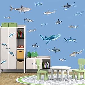 IARTTOP Ocean Animal Shark Wall Decal, Under The Sea Theme Sticker for Kids Room Bathroom Nursery Wall Art Decor (35Pcs)