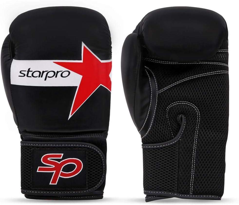 Starpro Guantes de Boxeo Muay Thai - Bueno para el Entrenamiento Combate Kickboxing Lucha Aptitud Ejercicio Bolsa de Trabajo Pesado Mitones | 10oz 12oz 14oz 16oz | Cuero Sintético Hombres y Mujeres