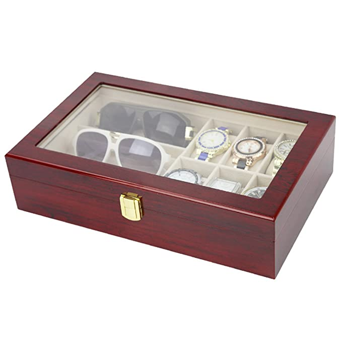 Amazon.com: The perseids 6 Slots Wooden Watch Display Box with 3 Grids Glasses Holder Storage Case for 6 Watches & 3 Glasses Storage Jewelry Organizer Men ...