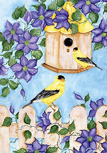 """Goldfinches Spring Garden Flag Floral Birdfeeder 12.5"""" x 18"""""""