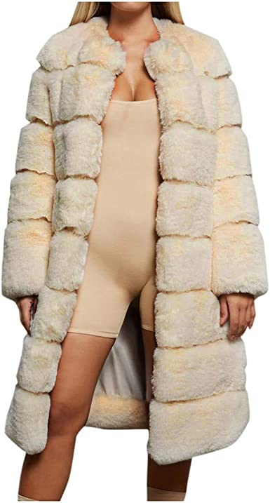 Womens Furry Faux Fur Coat Luxury Plush Thick Winter Warm Long Sleeve Casual Plus Size Short Jacket Outerwear