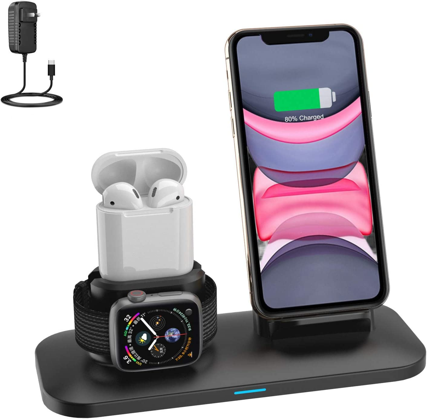 Wireless Charger,3 in 1 Wireless Charging Stand for iPhone Airpods and Apple Watch,Qi Fast Wireless Charging Station Compatible for iPhone 11/11 Pro/X/XR/Xs/xs max(Built-in iWatch Charger)