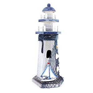"""Sail Boat Wooden Lighthouse 10"""" High Nautical Themed Rooms Lighthouse Home Decor"""