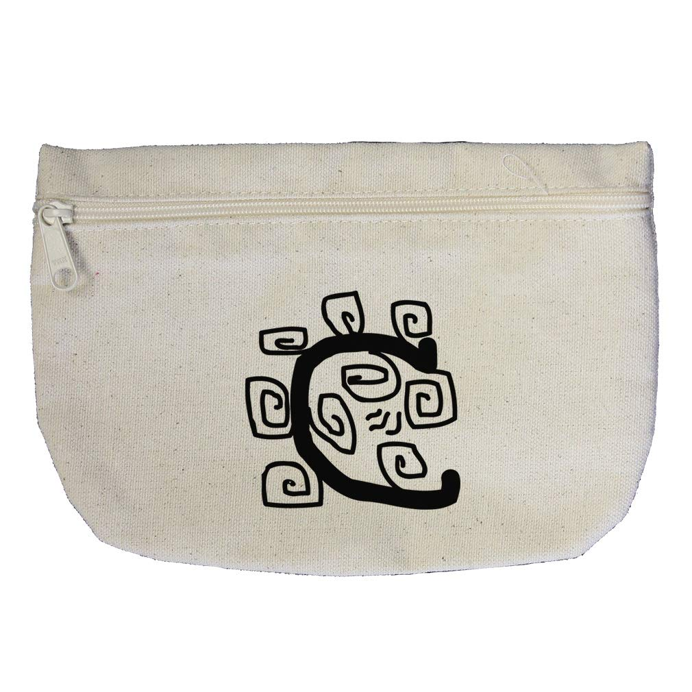 """C"" Native Initial Monogram Letter C Cotton Canvas Makeup Bag Zippered Pouch"