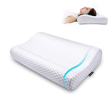 Memory Foam Pillow,Ergonomic Cervical Pillow for Neck Pain, Orthopedic Contour Pillows for Sleeping,Size:24.8 x 13.4 x 4.7/3.5 in