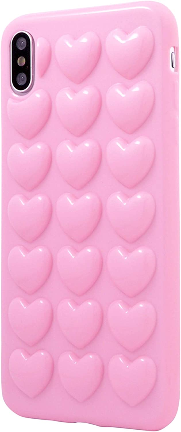 Iphone Xr Case For Women Dmaos 3d Bubble Heart Cover With Lanyard Strap Necklace Cute Girly For Iphone 10r 6 1 Inch Pink