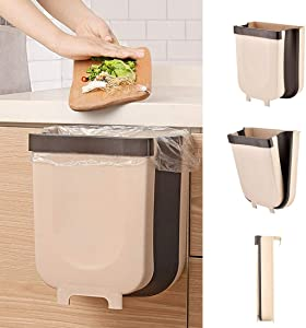 Sayefetar Hanging Trash Can for Kitchen Cabinet, Wall-Mounted Trash Can Foldable Waste Bins for Door Bedroom Dorm Room Car - Large Capacity 9L (Brown)