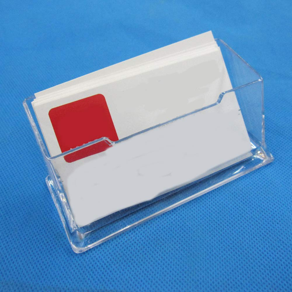 Fliyeong Business Card Holder Clear Desktop Business Card Holder Display Stand Acrylic Plastic Business Card Case 1PCS