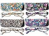 SOOLALA 4-Pair Designer Fashionable Spring Hinge Rectangular Reading Glasses w/Matching Pouch, 4pairsNew, 3.0