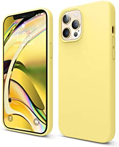 elago Liquid Silicone Case Compatible with iPhone 12 Pro Max 6.7 Inch (Yellow) - Full Body Protection (Screen & Camera Protection)