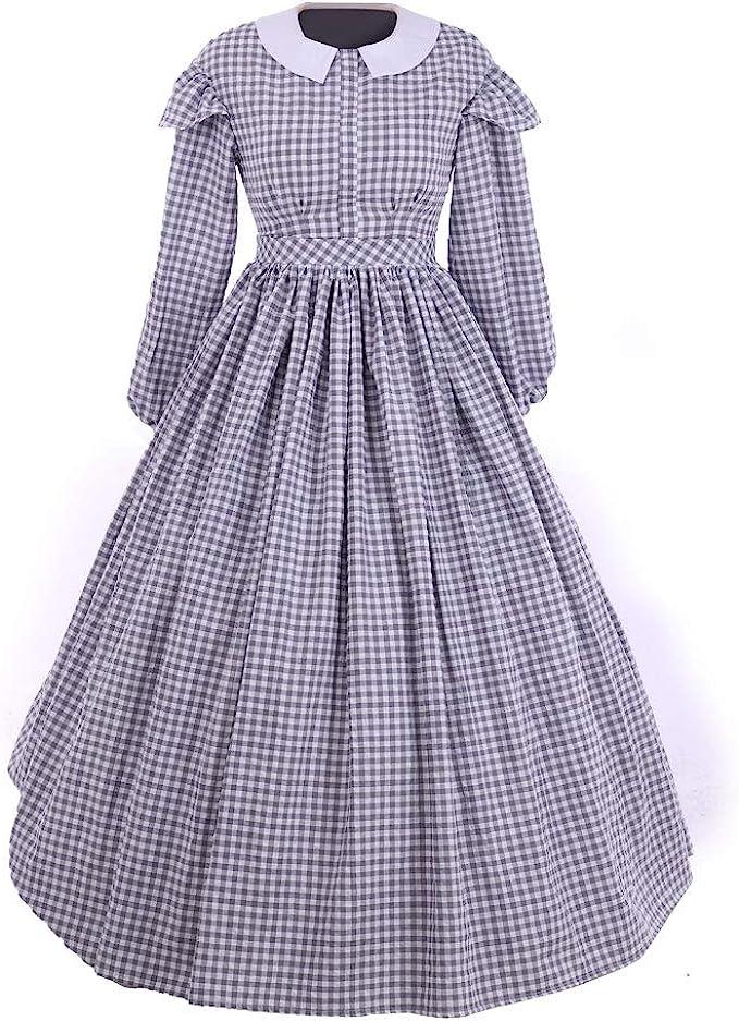 Victorian Dresses | Victorian Ballgowns | Victorian Clothing 1791s lady Women Regency Dress Costume Girls Prairie Dress Floral Print Dress  AT vintagedancer.com