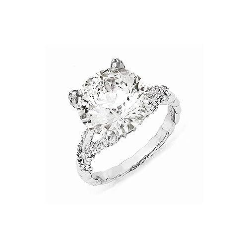 Cheryl M Sterling Silver CZ Ring Size 7 Length Width 2