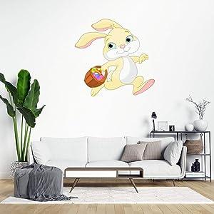 Easter Rabbit Wall Sticker,Cute Bunny Wall Decal Saying Family Room,Wall Art Decor for Boys Room Kids Bedroom Living Room lvlrxq2r2ymq