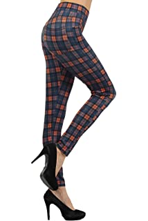 fashion MIC Plaid Slim Fit Pants - Multiple Style, Colors (S, orangeblue)