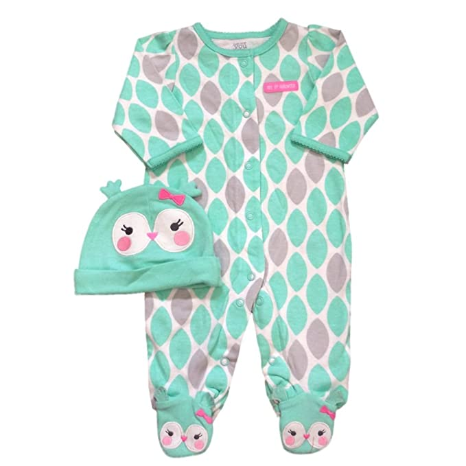 carters infant girls first halloween outfit green gray owl sleeper