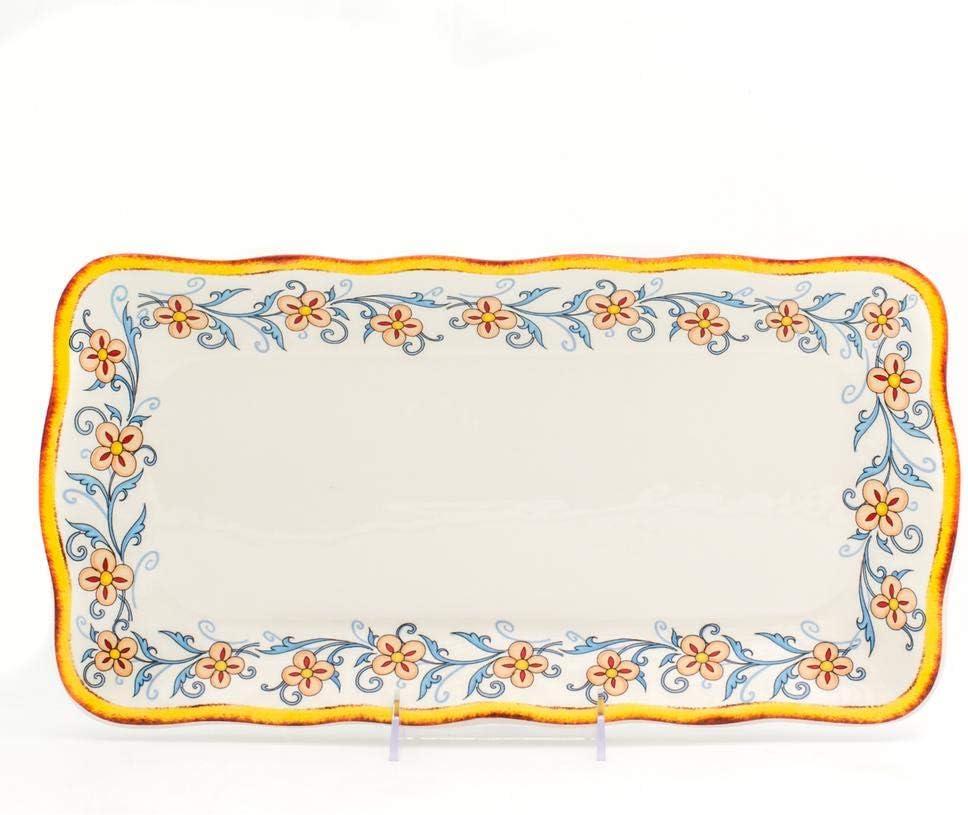 Amazon Com Euro Ceramica Duomo Collection Italian Inspired 16 8 Rectuangular Ceramic Serving Tray With Organic Edges Floral Design Multicolor Platters