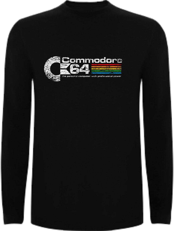 Camiseta Manga Larga de Hombre Comodore Retro Gamer Logo Friki 64 Juego: Amazon.es: Ropa y accesorios