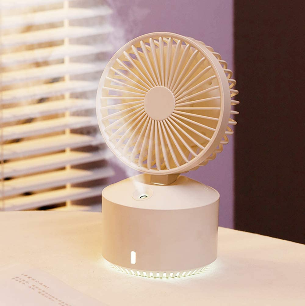Small Personal Desk Fan Mini Portable Misting Fan USB Rechargeable 2000mAh Battery Operated Humidifier Spray fan, Misting Handheld Portable Cooling 5 Speeds Fan for Kids, Students, Outdoor, Bedroom, Office