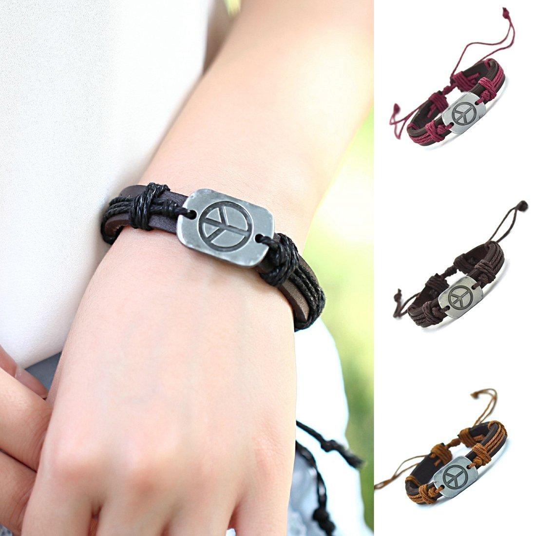 0df6765a0761 OBSEDE Simple Rétro Main Tissé Bracelet Bijoux en Cuir Bracelets Bracelets  Paix Signe Réglable 4 Pcs  Amazon.fr  Bijoux