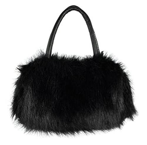 CrossBody Bag Nodykka Shoulder Bags Faux Fur Clutches Women Top-handle Purse  Handbags (BLACK bf21089011f84