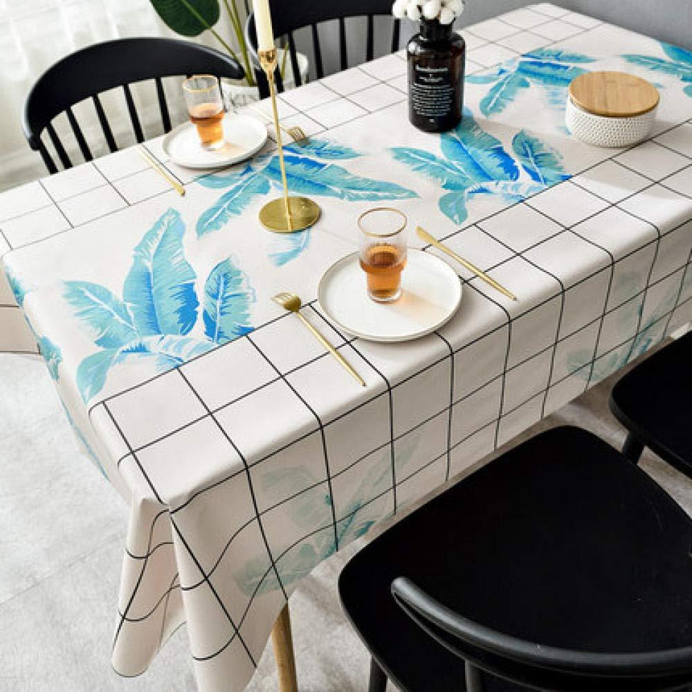 WJJYTX tischdecke Plastik, Abwischbare Vinyl-Tischdecke Stilvolles Muster Wasserdichtes Bananenblatt @ 110 * 160