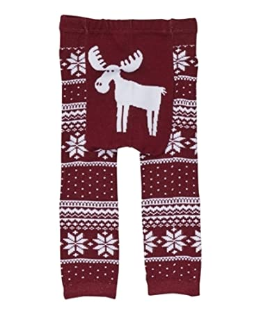 Amazon.com: Doodle Pants - Burgundy Fair Isle Moose Leggings ...