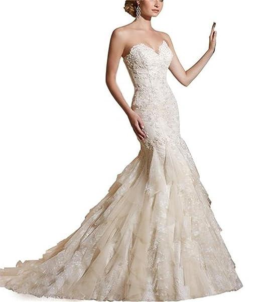 LYDIAGS - Vestido de novia - corte imperio - Sin mangas - Mujer blanco Marfil 38