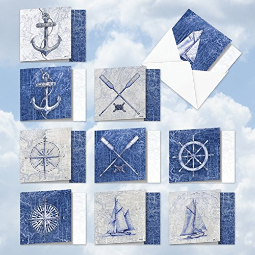 AMQ6671TYG-B1x10 Nautical World: 10 Assorted Set of New 'Square-Top' Thank You Cards With Weather-Worn Maps and Sailing Ships, with Envelopes (, Size: 4