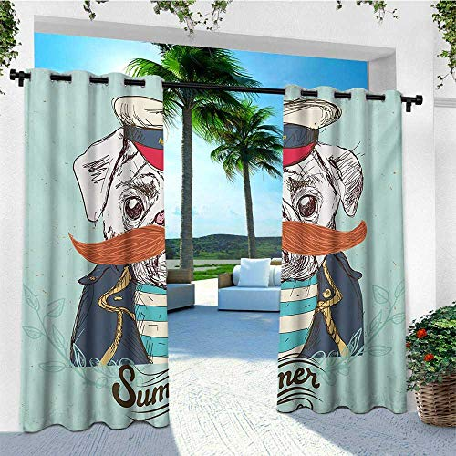leinuoyi Pug, Sun Zero Outdoor Curtains, Captain Dog with Hat Mustache Jacket and Shirt Cute Animal Funny Image, for Patio Waterproof W96 x L96 Inch Navy Blue Pale Blue Orange ()