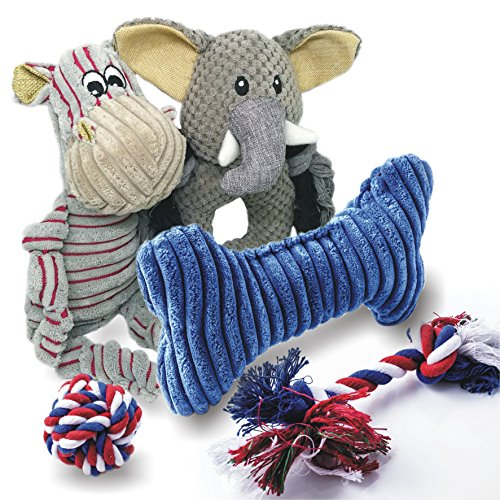 Cool Breed Dog Toys Pack - Squeaky Plush Rope Ball for Boredom Puppies Set - Perfect Variety for all Medium and Small Chewers (Pack Durable)