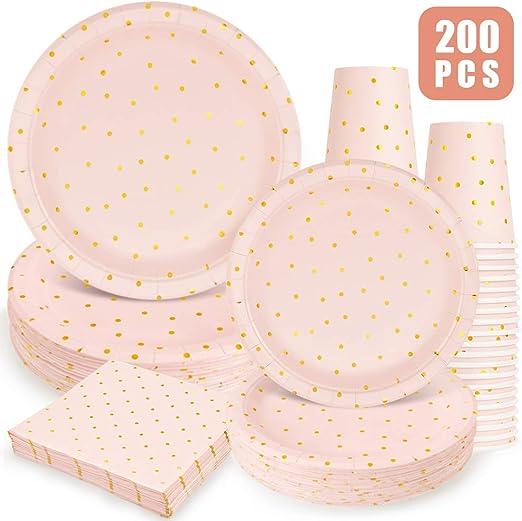 Amazon.com: Suministros de fiesta rosa y dorada, 200 platos ...