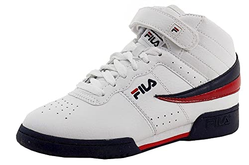 55536256b63cb Fila Boy's F-13 Navy/White/Red Leather Mid-Top Basketball Sneakers Shoes