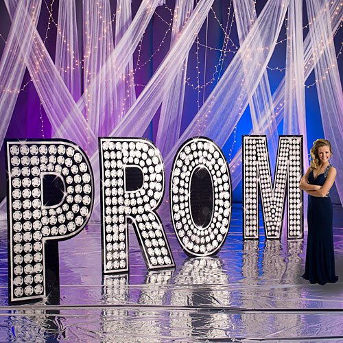 Prom Scene Setters - Giant Rhinestone Prom Standee Set Standup Photo Booth Prop Background Backdrop Party Decoration Decor Scene Setter Cardboard Cutout