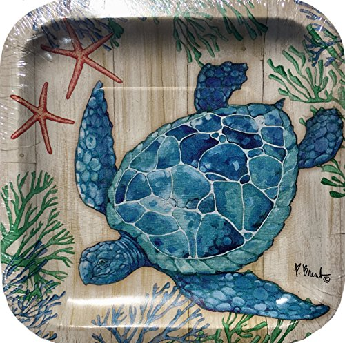 Creative Converting Coral Turtle Square 8 in Dessert Paper Plates, Blue, 18 count]()
