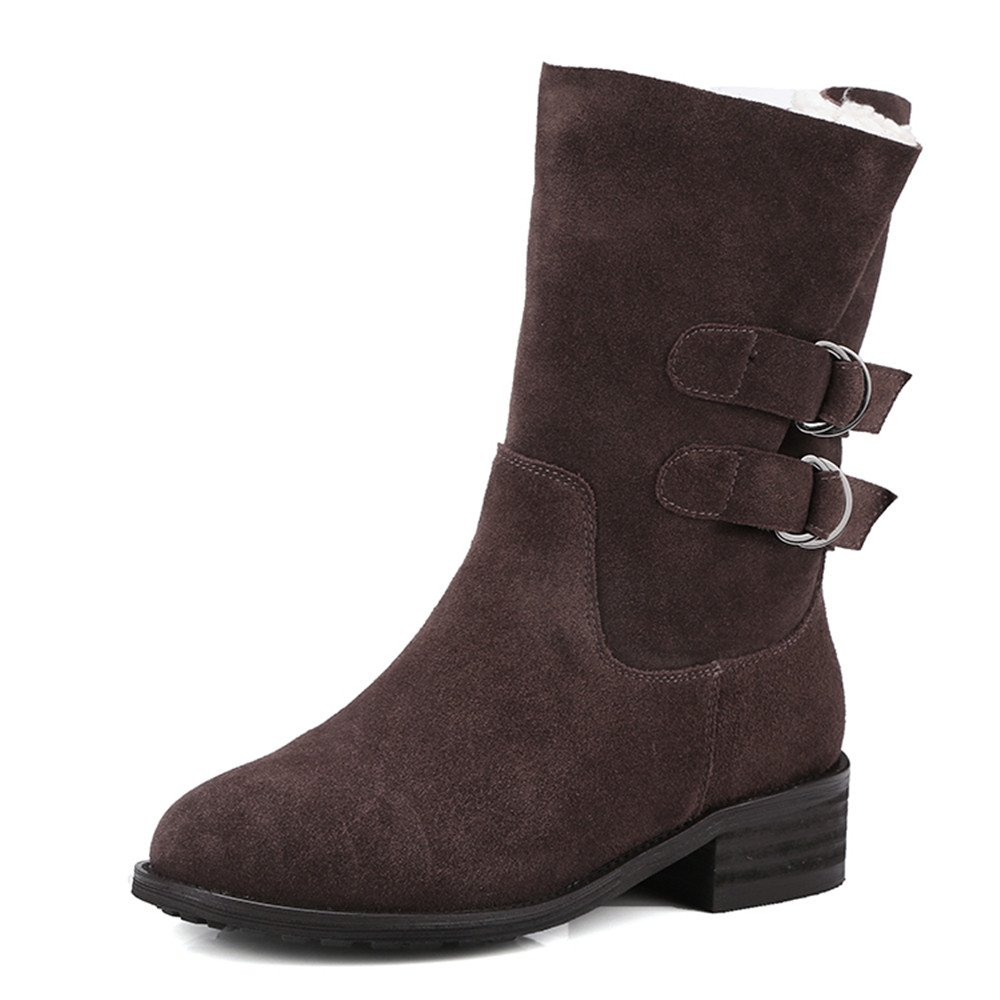 Nine Seven Suede Leather Women's Round Toe Chunky Heel Buckles Handmade Casual Travel Mid Calf Boots (7.5, Brown)
