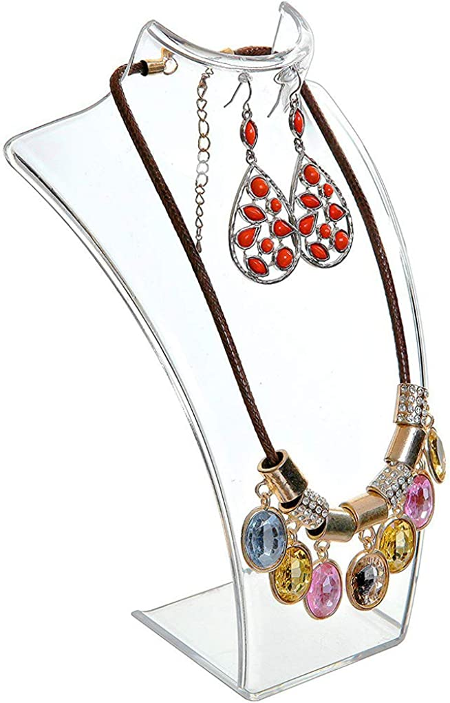 Floridivy Acrylic Jewelry Necklace Pendant Earrings Plastic Mannequin Bust Display Stand Organizer Holder