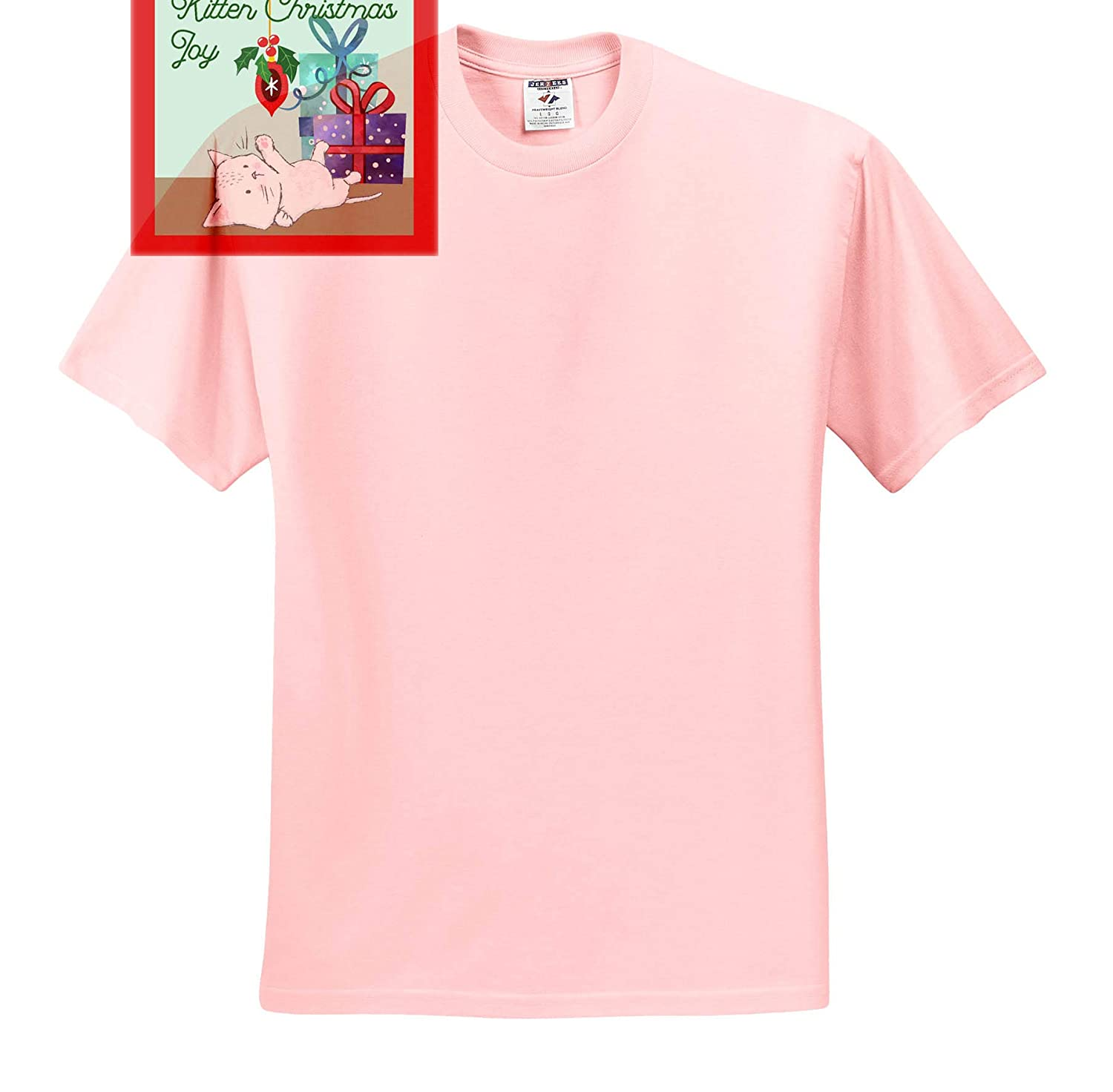 3dRose TNMGraphics Christmas White Kitten Playing with Dangling Ornaments on The Christmas Tree T-Shirts