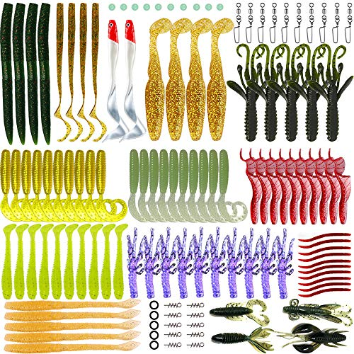 Soft Bait (Soft Fishing lures,Soft tackle box, WSNDY 123pcs Soft Plastic Lures Tackle Set is both for Freshwater and Saltwater (123pcs))