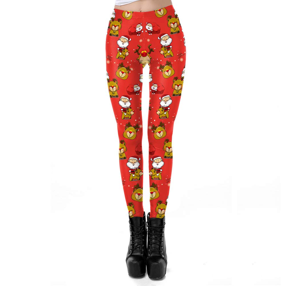 Womens Christmas Santa Claus Elk Print Tighten High Waist Pencil Pants Trousers Red