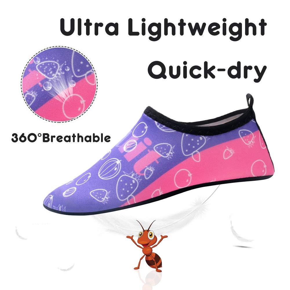 Runfon Toddler Kids Water Shoes Quick Dry Non Slip Barefoot Aqua Socks Beach Swim Shoes for Boys Girls