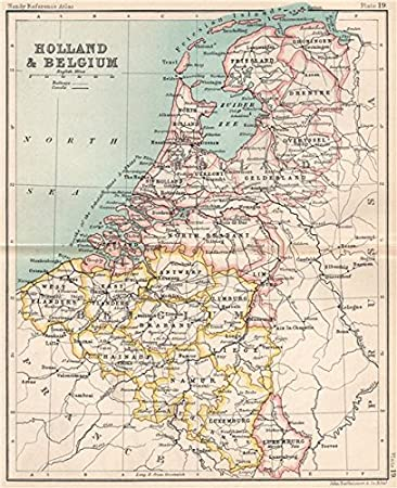 holland and belgium luxembourg benelux bartholomew 1904 old map antique