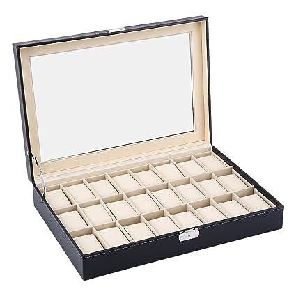 24 rejillas caja para relojes (piel sintética, joyas pantalla caja de almacenamiento bandeja de