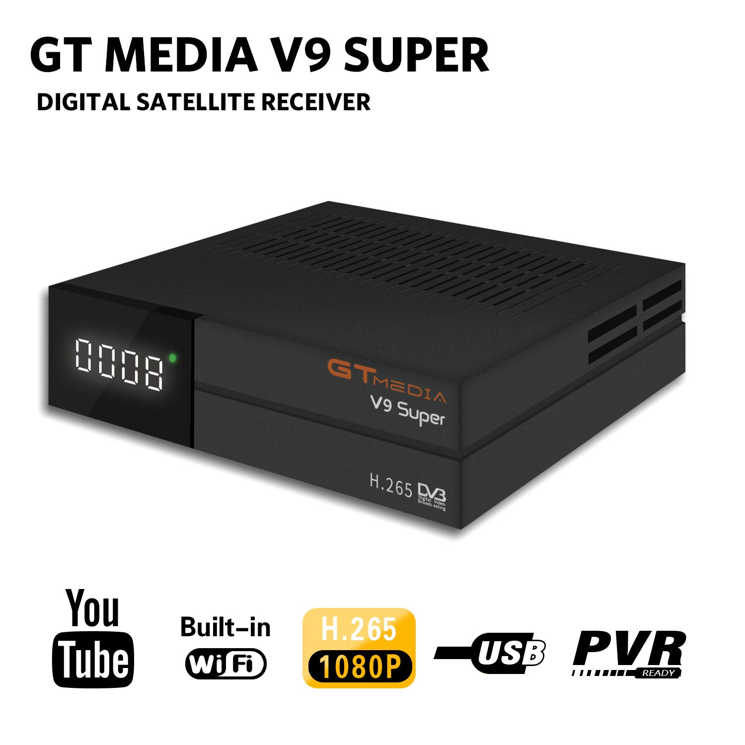 GTMEDIA V9 Full HD DVB-S2 Freesat Satellite Receiver H.265 Built-in WiFi TV Box Support PowerVu, DRE & Biss Key, DLNA,SAT to IP,Unicable,Satellite EPG by Aoxun by Aoxun