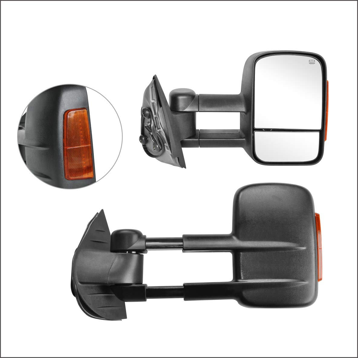 PAIR SET Perfit Zone Towing Mirrors Replacement Fit for 1999-2002 SILVEADO//GMC SIERRA W//HEATED,W//AMBER SIGNAL,BLACK