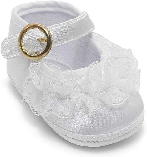 Baby Girls SOFT Sole Satin Bow Strap Christening Wedding Dress Pram Shoes Size