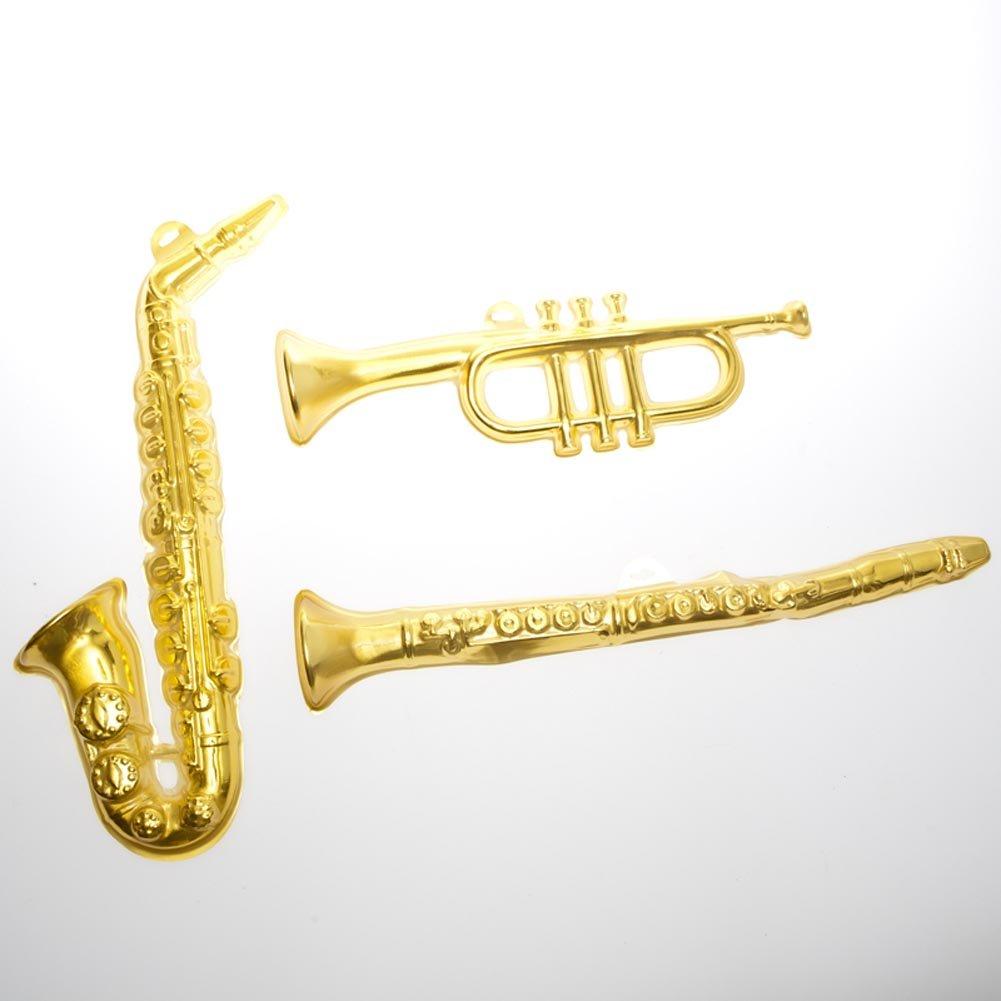 Amazon.com: Gold Plastic Musical Instrument Wall Decorations ...