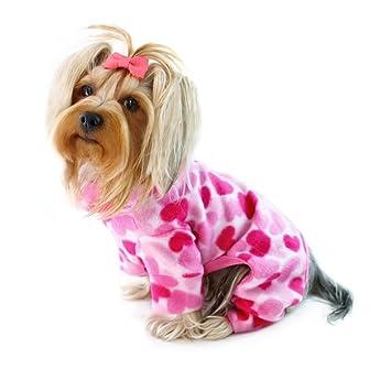 Polar Suave de corazones rosa de cuello alto Body/Pijama Para Perros Pequeños – XS